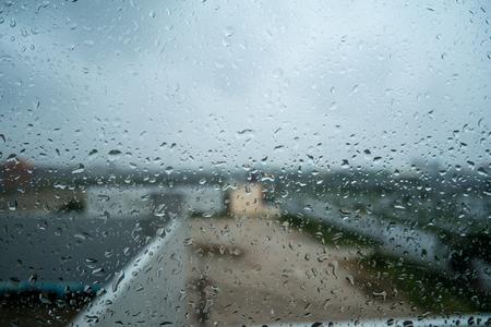Water drops on window glass Stock Photo