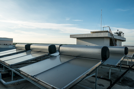 Solar hot water system on rooftop Stock Photo - 91115997