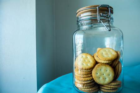 Cream Biscuits in Glass Jar Stock Photo - 91233507