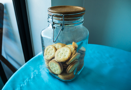 Cream Biscuits in Glass Jar Stock Photo