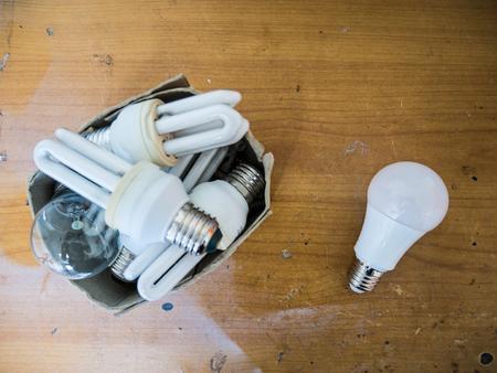 Led bulb on the table