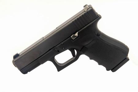 semi automatic: gun on white Stock Photo