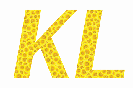 K and L sunflower text on isolated backgrounds Stock Photo