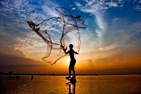 fishing net: fisherman