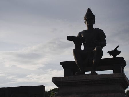 SUKHOTHAI THAILAND-03 AUGUST 2019:King Ramkhamhaeng the Great Monument at Sukhothai Historical Park. Editorial