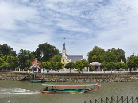 BANGKOK THAILAND-14 AUGUST 2019:Wat Niwet Thammaprawat Ratchaworawihan,Located within the Grand Palace in the Bang Pa-in district of Ayutthaya province of Thailand. Founded in 1878.