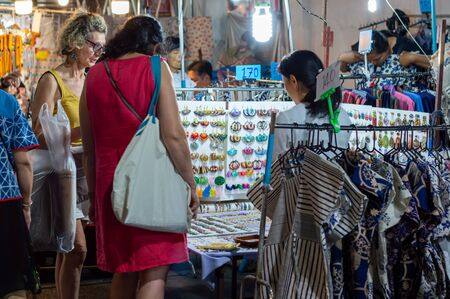 Chiang Mai Walking Street CHIANG MAI THAILAND-12 JANUARY 2020:A local handicraft market made from silk,ceramics,metal,glass,wood or art and food Thai tourists and foreigners enjoy walking and shopping Editorial