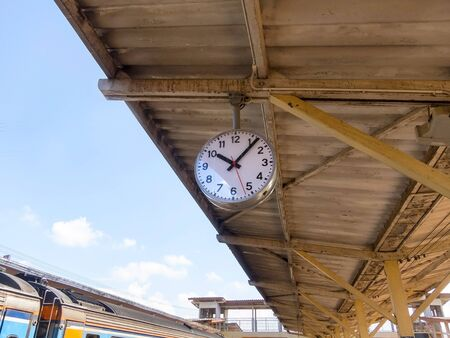 Train station is the main station with a clock in the sky. Stock Photo