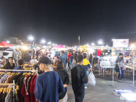 NAKHON RATCHASIMA,THAILAND-28 SEPTEMBER 2018:Save One night bazaar selling food and other things in itself in Nakhon Ratchasima Today is the end of the month to buy a lot of specialties..on28 SEPTEMBE