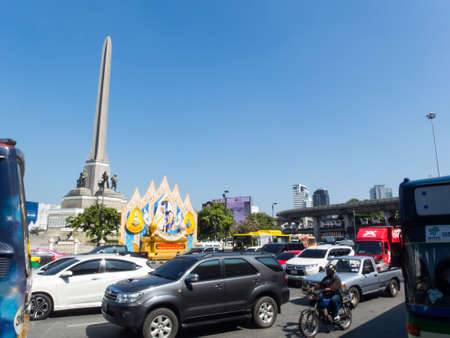 Victory Monument BANGKOK THAILAND-30 OCTOBER 2018;The Victory Monument was built to commemorate the heroic battles of the police and civilian. At that time, 59 people died.