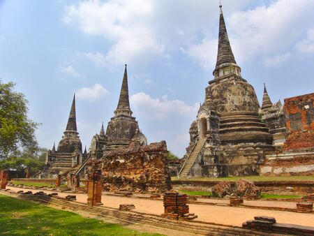"""Wat Phra Sri Sanphet Temple """"The sacred temple"""" is the most sacred temple of the Grand Palace in the old capital of Thailand, Ayutthaya. Archivio Fotografico"""