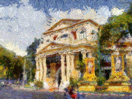 European-style ancient buildings in Bangkok Illustrations creates an impressionist style of painting.