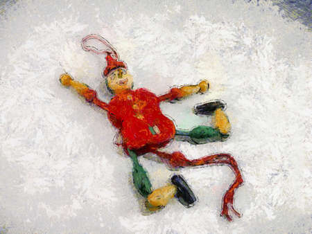Wooden toy doll Illustrations creates an impressionist style of painting.