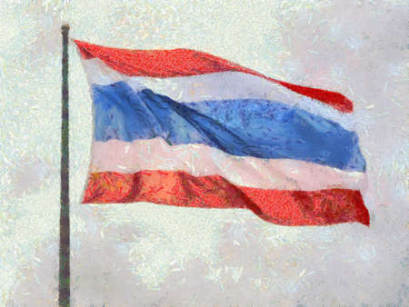 Thailand flag Illustrations creates an impressionist style of painting.