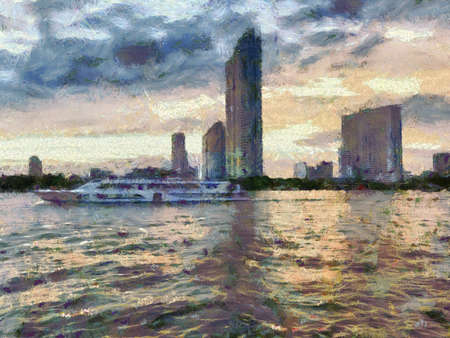 Viewpoint by the river at Twilight Time Illustrations creates an impressionist style of painting.