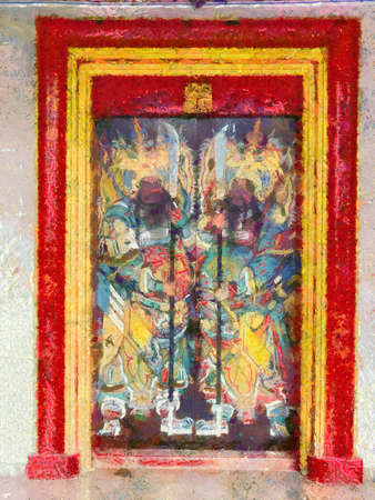 Colorful ancient Chinese shrines in the city Illustrations creates an impressionist style of painting.