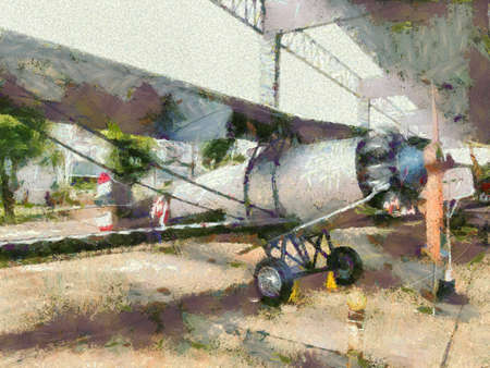 Ancient fighter planes during World War I Illustrations creates an impressionist style of painting.