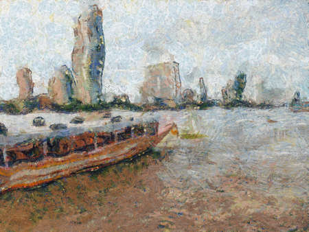 Chao Phraya River Illustrations creates an impressionist style of painting.