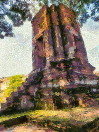 Ruins in Ayutthaya Illustrations creates an impressionist style of painting.