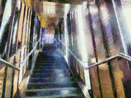 Stairs and walkways connecting the building Illustrations creates an impressionist style of painting.