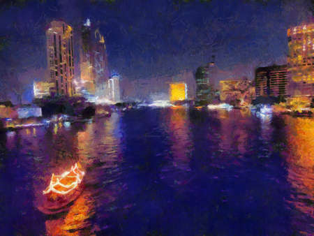 Landscape of the Chao Phraya River at night Illustrations creates an impressionist style of painting.