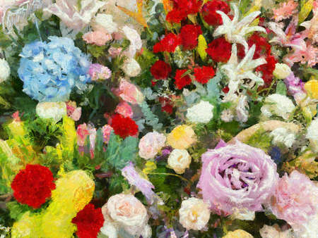 Colorful flower bouquet Illustrations creates an impressionist style of painting.