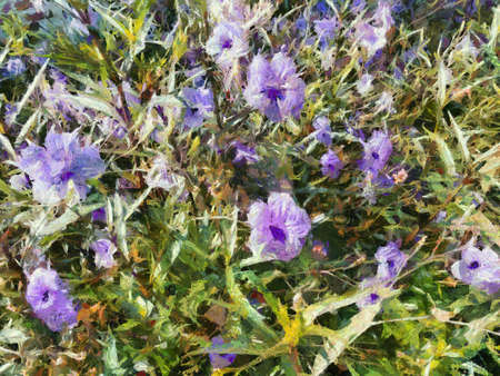Shrub trees have small purple flowers. Illustrations creates an impressionist style of painting.