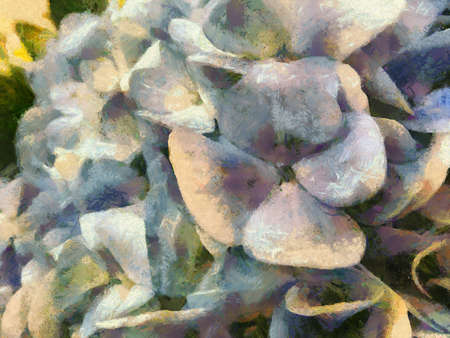 The bouquet is white and purple. Illustrations creates an impressionist style of painting.
