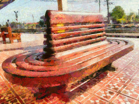 The ancient wooden seat at the train station Illustrations creates an impressionist style of painting.