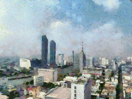 Landscape of Bangkok Illustrations creates an impressionist style of painting. Banque d'images