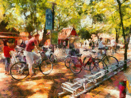 Public bicycle parking in the park Illustrations creates an impressionist style of painting.