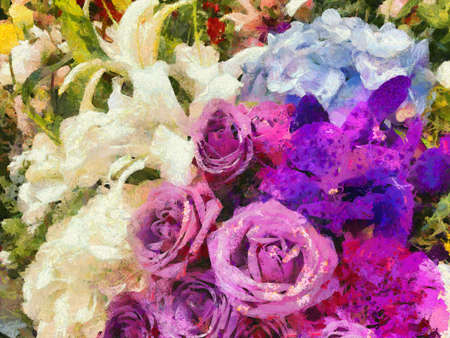 Bouquet of flowers with a purple-white color Illustrations creates an impressionist style of painting.