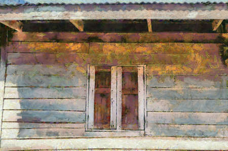 The ancient wooden windows Illustrations creates an impressionist style of painting. Banque d'images