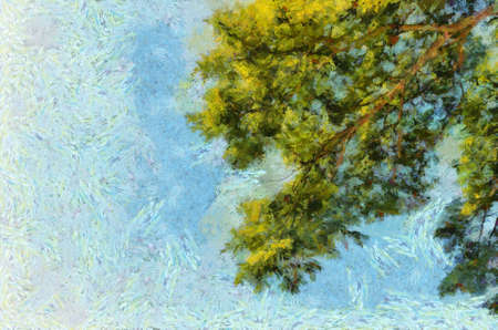 The leaves and branches of the big tree on the sky surfing background Illustrations creates an impressionist style of painting.