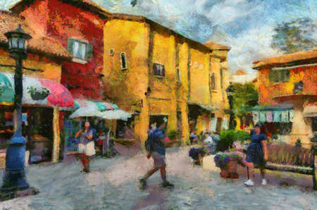 Italian style Colorful Italian style architecture Illustrations creates an impressionist style of painting.