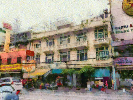 Chinatown Yearat in Bangkok Illustrations creates an impressionist style of painting.