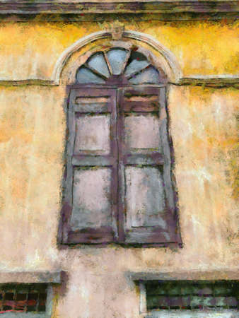 Colonial style ancient building architecture Illustrations creates an impressionist style of painting.