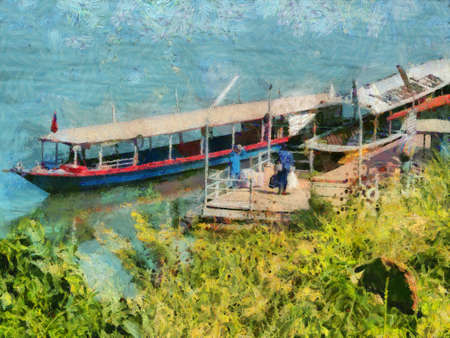Landscape of the Mekong River beautiful landscape of the River Illustrations creates an impressionist style of painting.