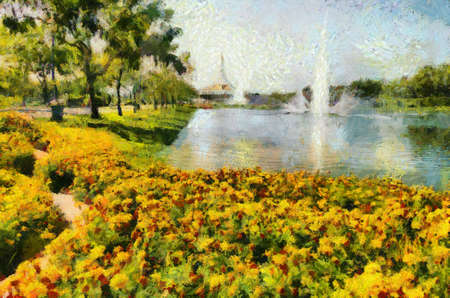 Yellow flower beds and canals and fountains in the park on sunny days Illustrations creates an impressionist style of painting.