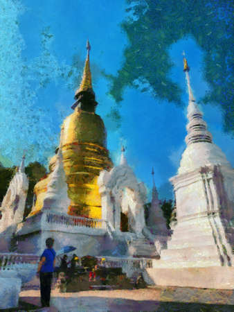 Wat Suan Dok temple Chiang Mai Thailand Illustrations creates an impressionist style of painting. Banque d'images