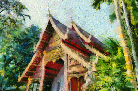 Ancient temples, art and architecture in the northern Thai style Illustrations creates an impressionist style of painting. Banque d'images