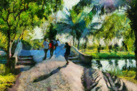 People strolling around the park in the park on a sunny day Illustrations creates an impressionist style of painting. Banque d'images