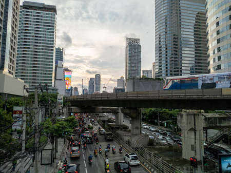 Bangkok-15 September 2020:Sathorn-Narathiwat Intersection The traffic of this intersection in the evening hours. Is an intersection in the city, the main business district of Bangkok.