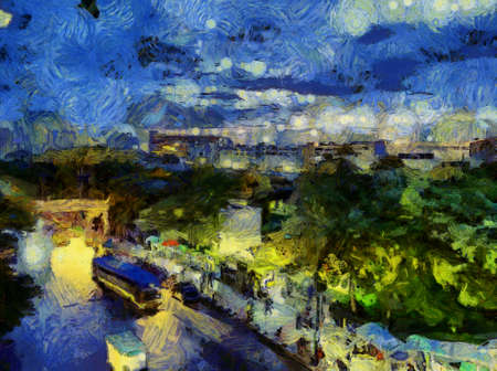 Landscape of Bangkok and its people Illustrations creates an impressionist style of painting.