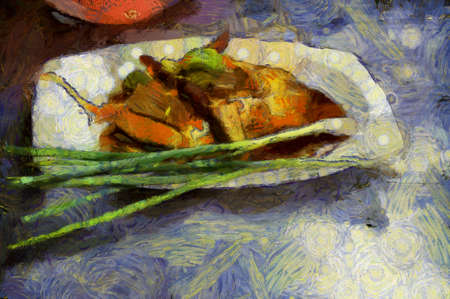 The food on the plate has a long onion on the plate Illustrations creates an impressionist style of painting.