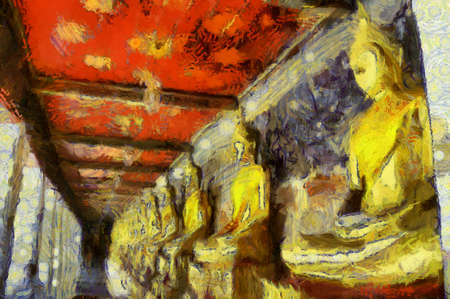A row of buddha statues Illustrations creates an impressionist style of painting.