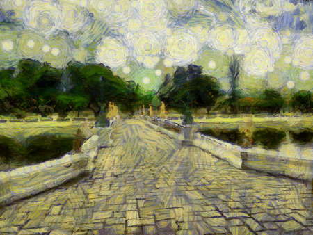 The ancient stone bridge in the park Illustrations creates an impressionist style of painting. Standard-Bild