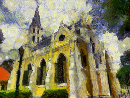 The yellow church in gothic style Illustrations creates an impressionist style of painting. Banque d'images