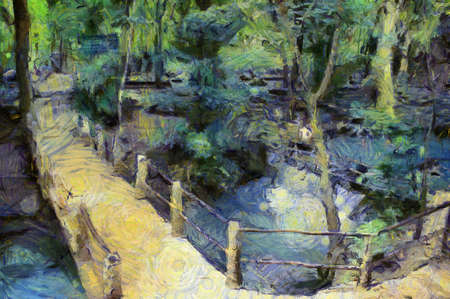 Landscape of bridges and streams Illustrations creates an impressionist style of painting.