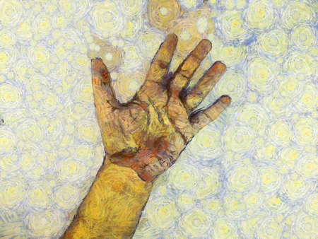 Man's hand Illustrations creates an impressionist style of painting.